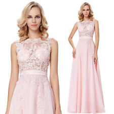 Long Sleeveless Sheer Bodice Chiffon Ball Gown Evening Prom Bridesmaid Dress