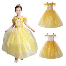 Girls Belle Costume Beauty and the Beast Princess Kids Flower Party Fancy Dress
