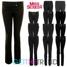 Girls Black Grey School Miss Sexies Trousers Girls Hipster Pants Stretch Trouser
