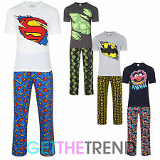 Mens Novelty Superman Hulk Muppets Batman Pyjamas Set Tshirt Lounge Pants Suit
