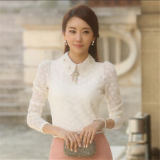 Women Peter Pan Collar Long Sleeve White Color Blouse VEW008