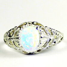 Created White Opal, 925 Sterling Silver Ladies Ring, SR113-Handmade