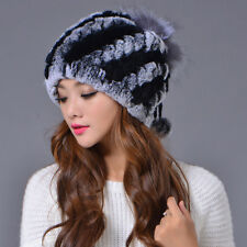 New Winter Russian Womens Warm Real Rex Rabbit Fur Hats Female Caps Fur Beanies