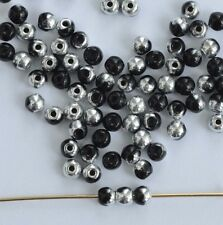Druk Round Black 2 3 6 mm  Jet Labrador 23980-27001 Czech Glass Spacer Bead