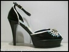 CLEARANCE!  BLACK SNAKE PRINT PLATFORM PEEP TOE PUMPS CLOSED HEEL CUT-OUT SHOES