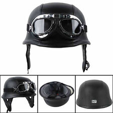 1x Black DOT German Style Padded Motorcycle Bike Flight Half Helmet with Goggles