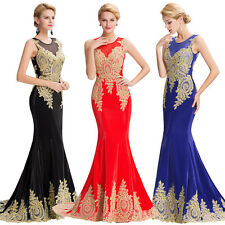 Applique Wedding Bridal Bridesmaid Prom Gown Cocktail Party Formal Evening Dress