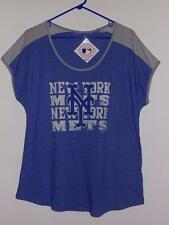New York Mets t shirt $32 womens scoop neck tri-blend blue heather & steel NWT