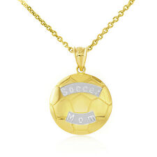 Fine 10k Two Tone Yellow Gold Soccer Mom Soccer Ball Sports Pendant Necklace