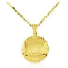 Fine 14k Yellow Gold Soccer Mom Soccer Ball Sports Pendant Necklace