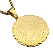 Vogue Gold Stainless Steel Gear Bible Round Pendant Necklace Punk Mens Jewelry
