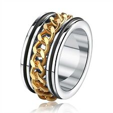 1pc Men's Ring 316L Stainless Steel Rotatable Gold Chain Punk Style Ring Popular