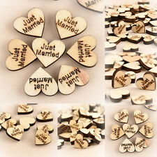 100pcs Rustic Wooden Wood Love Heart Wedding Table Scatter Decoration Crafts CHI