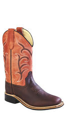 Old West Red Youth Girls Corona Leather Broad Square Toe Cowboy Boots
