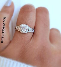 New Boxed 925 Silver Ladies Round Cut Halo Flower Leaf  Wedding Engagement Ring