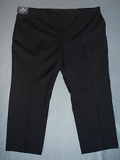NWT Stafford Mens Portly Fit Black Flat Front Suit Pants -U Pick Size  MSRP $135