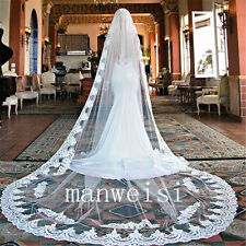 New White/Ivory 3m50 Cathedral Length Wedding Bride Veils with Comb