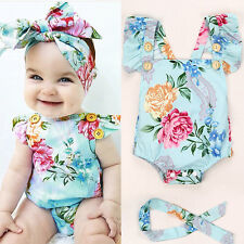 Summer Kids Toddles Girl's Casual Cross Back Floral Romper jumpsuit +Hair band
