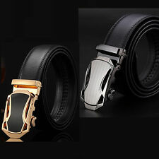 Hot Men Automatic Alloy Genuine Leather Buckle Belts Waist Strap Belt Waistband