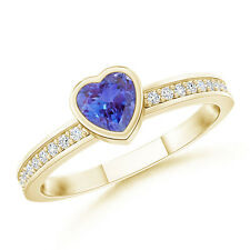 Bezel Heart Tanzanite Promise Ring with Diamond In 14K Yellow Gold