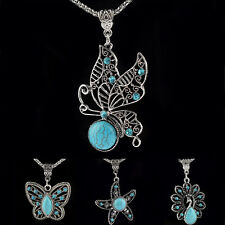 Women Silver Turquoise Boho Chic Butterfly  Leaf Chain Pendant Necklace Jewelry