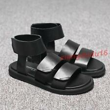 Mens Retro Summer Gladiatore Faux leather Gothic Flat Sand Beach Sandals Shoes #