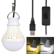 Portable 5W LED USB Switch Dimmable Camping Light Lamp Emergency Globe Bulb New