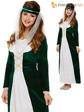 Ladies Medieval Maid Marion Costume Adults Robin Hood Fancy Dress Womens Outfit