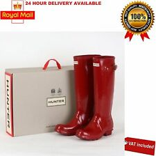 Hunter Womens Wellies Original Tall Gloss Wellington Boots Military Red Size 3-8
