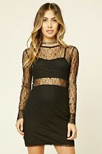 Forever 21 Black Floral Lace Overlay Dress Small S