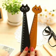Cute Wood Straight Ruler Black Lovely Cat Ruler Gift For Kids School Supplies