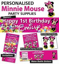 Personalised Minnie Mouse Birthday Party Banner and Decorations