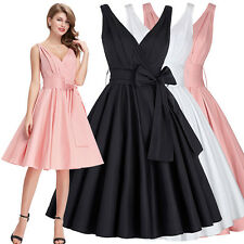 Vintage 50s Style Swing Pinup Dress Housewife  Evening Party Cocktail Tea Dress
