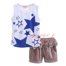 Baby Girl Blue Star T-shirt Top + Shorts Set Toddler Kids Outfit Summer Clothes