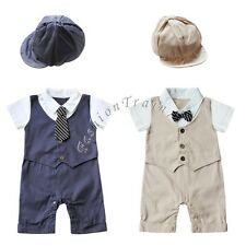 Baby Boys Wedding Formal Tuxedo Suit Gentleman Romper Outfit +HAT Set 6-18Months