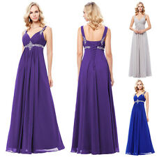 Elegant Purple Bridesmaid Formal Gown Party Cocktail Evening Prom Maxi Dress