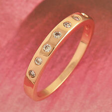 Stylish Rose Gold plated Clear crystal Around crystal Womens Ring Size 6 7 8