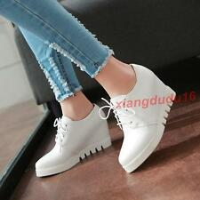 Womens Oxford Faux leather Platform Hidden wedge heel Creeper Lace-up Shoes