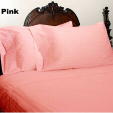 4 PC Bed Sheet Set 1200 Thread Count Egyptian Cotton US-Size Pink Striped