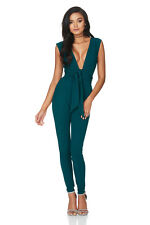 Green Deep V Neck Sinfully Sexy Cross Front Backless Jumpsuit Pants