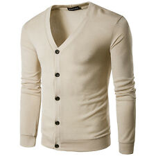 Men's Fashion Fit Long Sleeve V-neck Cardigan Knit Sweater Slim Casual Coat Tops