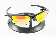 OAKLEY FLAK JACKET XLJ BLACK FRAME / REVANT FIRE RED POLARIZED CUSTOM LENSES