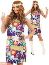 Ladies 1960s 1970s Groovy Hippie Costume Adults Hippy Fancy Dress Womens Outfit