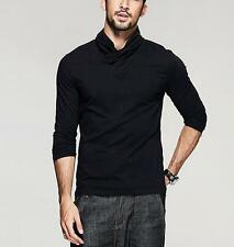 Fine!! Mens High-necked Casual T-Shirt Solid Long Sleeve Basic Tee M L XL XXL