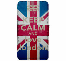 Keep Calm and Love London Leather Flip Phone Case Cover for iPhone & Samsung D10