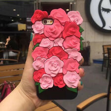 3D Cute Rose Cell Phone Soft Silicone Phone Back Case Protector Cover For iPhone