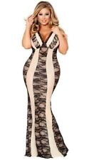 PLUS SIZE ALLURING NUDE AND BLACK LACE LINGERIE GOWN