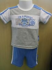 Baby Boys Grey Training Campus T-Shirt & Light Blue Shorts Set - Various