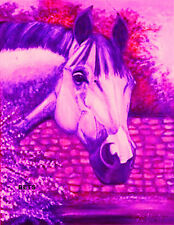 HORSE PRINT Giclee GREY Horse AMERICA by artist BETS 5 COLORS print size 12 X 16