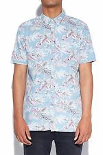 New BARNEY COOLS Mens Floral SS Shirt Indigo